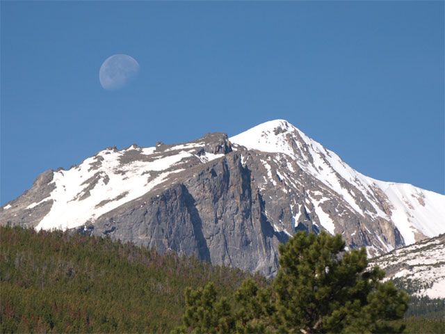 Moon over Hallett Peak